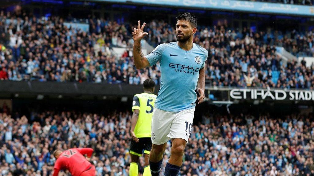 Hasil Liga Inggris: Aguero Hat-trick, City Lumat Huddersfield 6-1