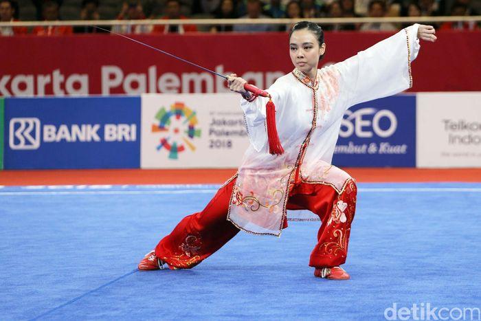 Indonesia meraih emas keduanya di Asian Games 2018. Lindswell Kwok menambahnya dari cabang wushu.