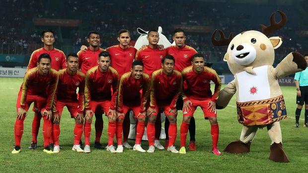 Timnas Indonesia saat tampil di Asian Games 2018. (