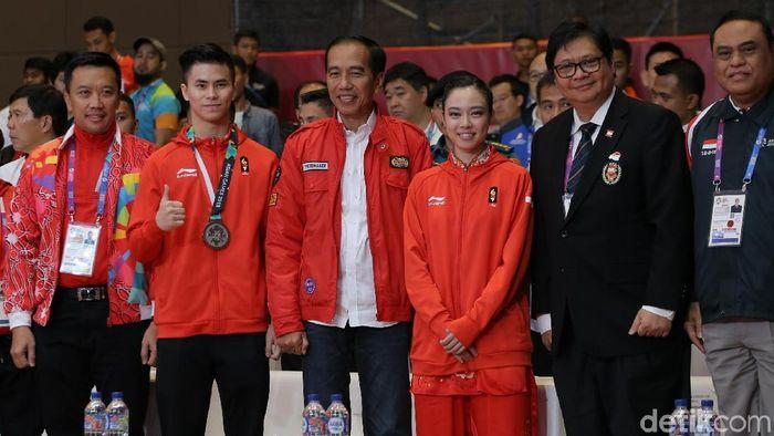 Kehadiran Jokowi disambut Lindswell Kwok dengan emas kedua Indonesia di Asian Games 2018 (Foto: Agung Pambudhy/detikSport)(Foto: Agung Pambudhy/detikSport)