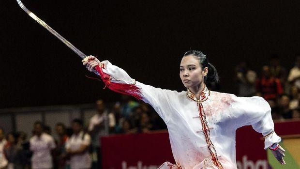 Lindswell Kwok menutup karier sebagai pewushu dengan raihan emas Asian Games 2018. (