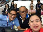 Momen Puan-Sandiaga-Ical Wefie di Stadion Akuatik GBK