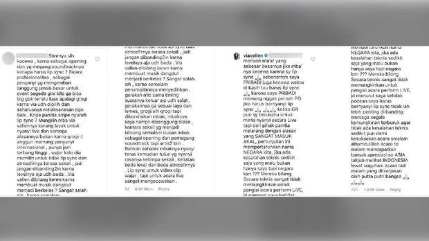 Percakapan Via Vallen dengan netizen yang mengkritiknya soal penampilan lip sync di Pembukaan Asian Games 2018.