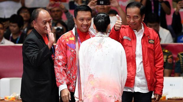 Lindswell Kwok dipuji Presiden Jokowi dan Menpora Imam Nahrawi usai meraih medali emas Asian Games 2018. (
