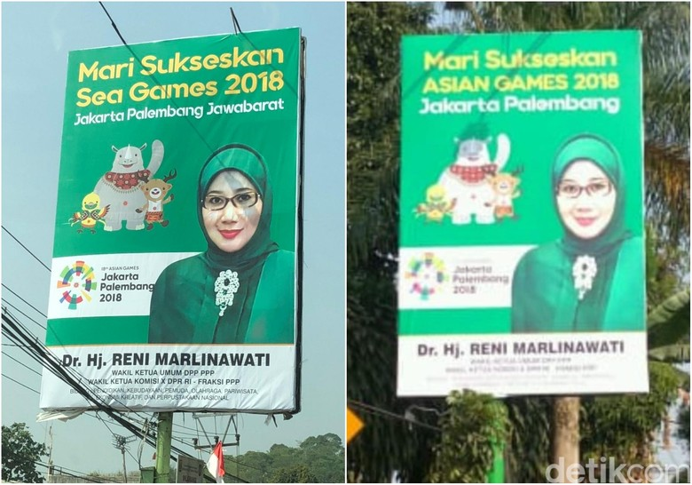 Baliho Salah Tulis Asian Games Jadi Sea Games Sudah Diganti