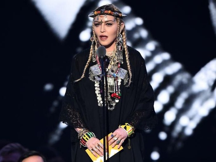 NEW YORK, NY - AUGUST 20:  Madonna speaks onstage during the 2018 MTV Video Music Awards at Radio City Music Hall on August 20, 2018 in New York City.  (Photo by Michael Loccisano/Getty Images for MTV)