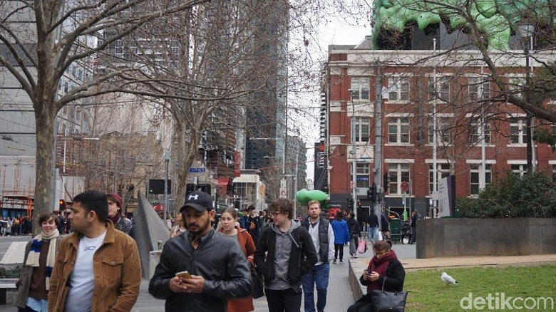 Suasana di depan State Library of Victoria (Shinta/detikTravel)