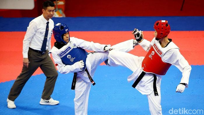 Laga Taekwondo di Asian Games 2018. (Foto: Grandyos Zafna)