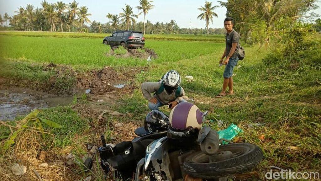 Mobil Anggota Dewan Banyuwangi Nyemplung Sawah