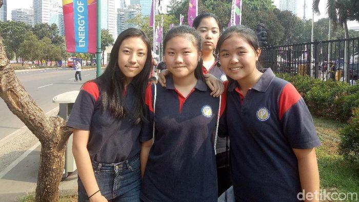 Ucapan seru dan keren terlontar dari pelajar ini saat menilai Asian Games 2018 (Foto: Amalia Dwi Septi/detikSport)