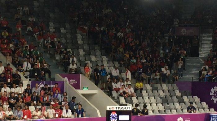 Kursi kosong di Istora dikala digelar simpulan bulutangkis beregu putra Asian Games 2018 (20Detik)