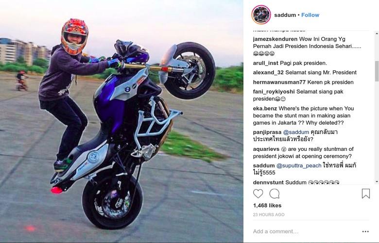 Instagram stuntman Jokowi Diserbu Netizen Indonesia. Foto: Instagram