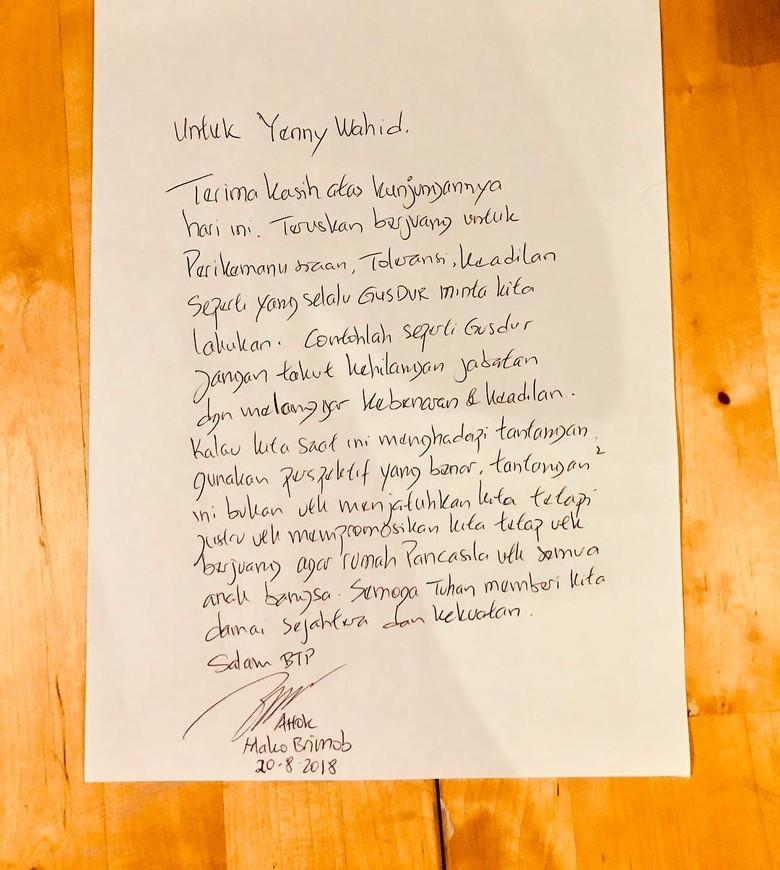 Yenny Wahid Jenguk Ahok: Dia Tetap Ingin Berjuang untuk Negeri