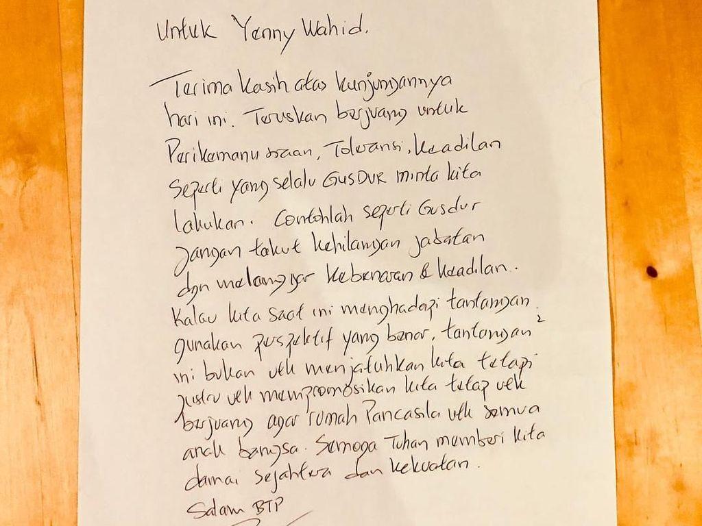 Ahok Minta Yenny Wahid Contoh Gus Dur: Jangan Takut Hilang Jabatan