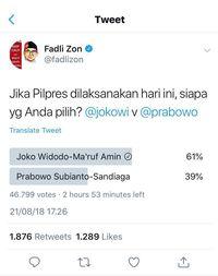 Fadli Zon Hapus Polling karena Jokowi 'Dimenangkan' Bot Siluman
