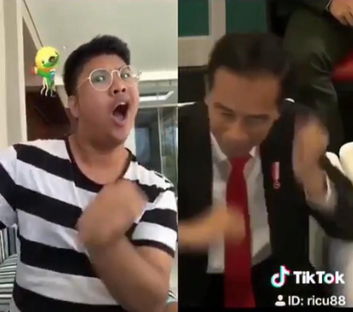 Ricky Cuaca, aktor sekaligus komedian ini mengikuti goyang dayung ala Jokowi. Kocak banget deh ekspresinya. (Foto: Instagram/rickycuaca)
