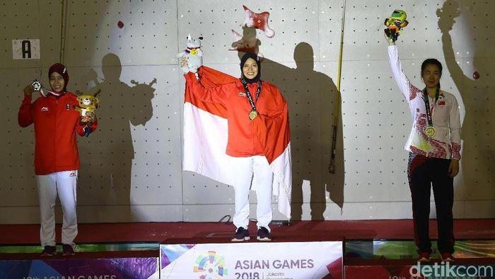 Aries Susanti Rahayu menyumbang emas dari cabang olahraga panjat tebing (Foto: Rachman Haryanto)