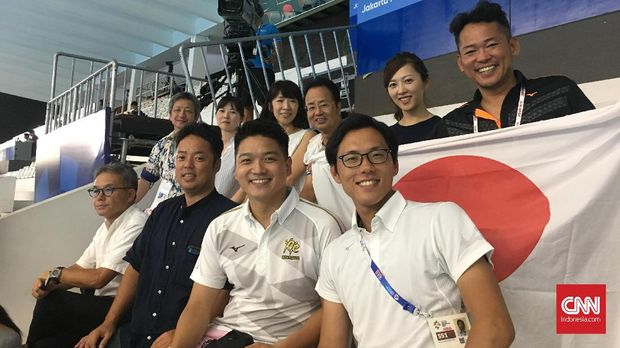 Rombongan suporter Jepang yang menghadiri perhelatan Asian Games 2018 di Jakarta.