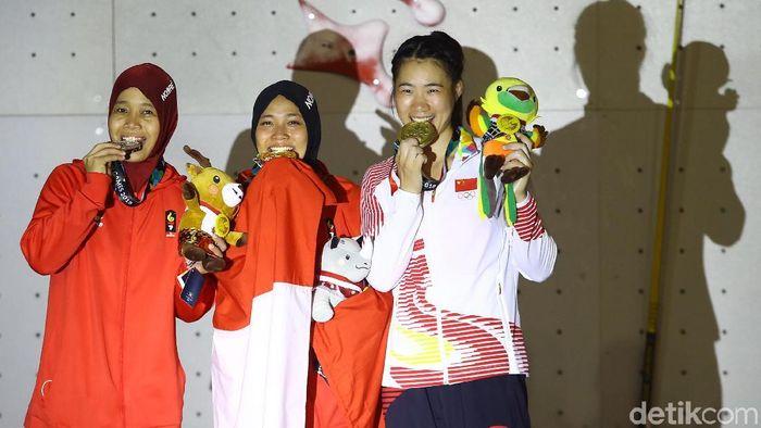 Aries Susanti Rahayu menuntaskan perlombaan secepat-cepatnya dengan mengingat pesan ibu. (Rachman Haryanto/detikSport)