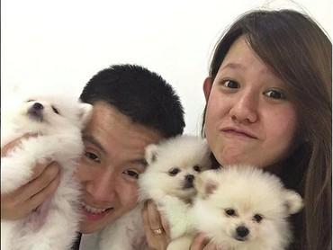 So cute! Saat Marcus dan Agnes foto bareng anjing-anjing imut nan menggemaskan. (Foto: Instagram/ @marcusfernaldig)