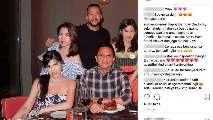 Dita Soedarjo Rayakan Ultah Ayahnya, Ke Mana Denny Sumargo?