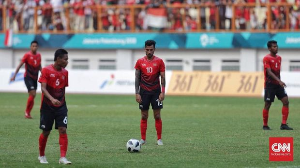 Timnas Indonesia saat di Asian Games 2018. Stamina masih menjadi persoalan para pemain Garuda. (