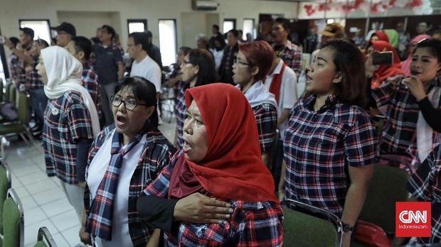 Pendukung Basuki Tjahaja Purnama alias Ahok, Ahoker, mendeklarasikan dukungan kepada Jokowi-Ma'ruf Amin, di Gedung Joeang '45, Jakarta (25/8).