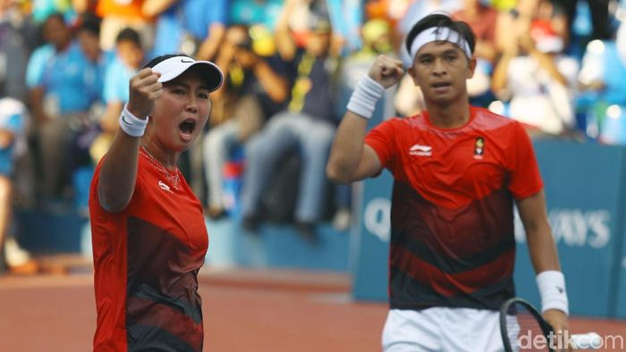 Chrisopher Rungkat/Aldila Sutjiadi diminta untuk mempersembahkan emas SEA Games 2019. (Rachman Haryanto/detikSport)