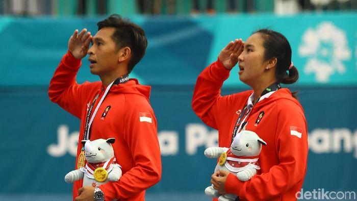 Christopher Rungkat/Aldila Sutidja saat raih medali emas Asian Games 2018 (Rachman Haryanto/detikSport)