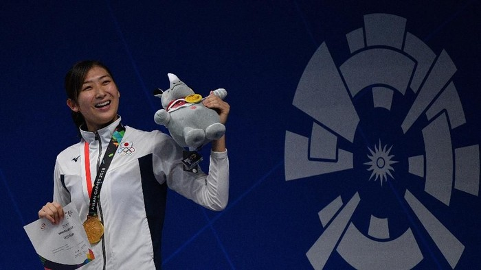 Rikako Ikee saat berlaga di Asian Games 2018 di Indonesia (Foto: ANTARA FOTO/INASGOC/Sigid Kurniawan/wsj/Spt/18.)