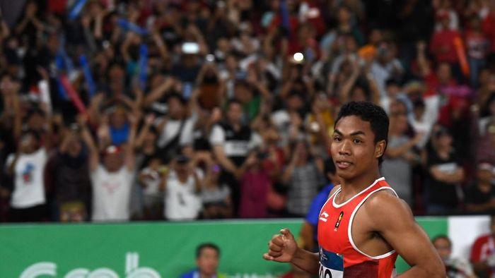 Lalu Muhamad Zohri di Asian Games 2018. (Foto: ANTARA FOTO/INASGOC/Andika Wahyu)