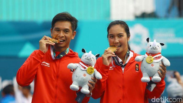Christopher Rungkat/Aldila Sutjiadi meraih emas di Asian Game 2018. (Foto: Rachman Haryanto/detikcom)