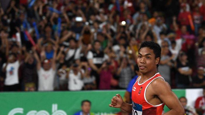 Lalu Muhammad Zohri belum mampu meraih medali di lari 100 meter Asian Games 2018. (Foto: Andika Wahyu/ANTARA FOTO/INASGOC)