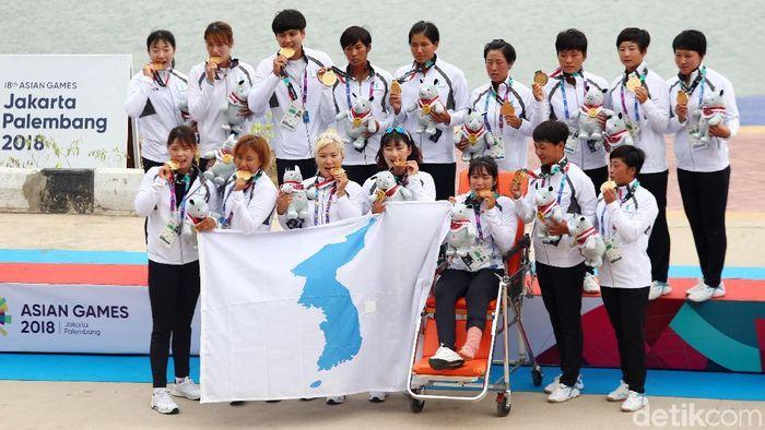 Korea meraih emas pertamanya di Asian Games 2018 lewat cabang olahraga kano (Foto: Rachman Haryanto/detikcom)