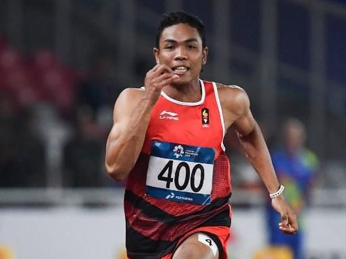 Lalu Muhammad Zohri lolos ke final 100 meter putra Asian Games 2018. (Foto: Jewel Samad/AFP Photo)