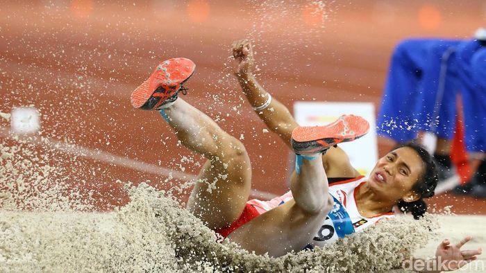 Maria Londa tak berhasil menyumbang medali di nomor lompat jauh Asian Games 2018. (Foto: Grandyos Zafna)