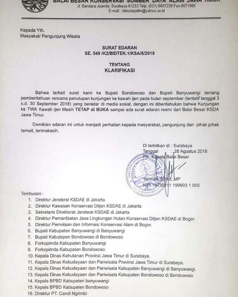 Foto: Balai Besar KSDA Jawa Timur mengeluarkan surat edaran bahwa Taman Wisata Alam (TWA) Kawah Ijen tetap buka seperti biasa (bbksdajatim/Instagram)