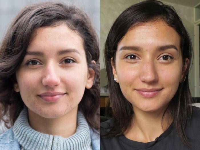 Wajah Kristel saat jadi vegan (kiri) dan setelah makan daging hewan (kanan). Foto: Twitter/@kasumikriss