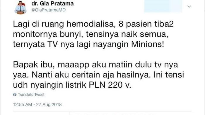 Cerita viral tentang pasien yang tensinya naik gara-gara Minions (Foto: Twitter)
