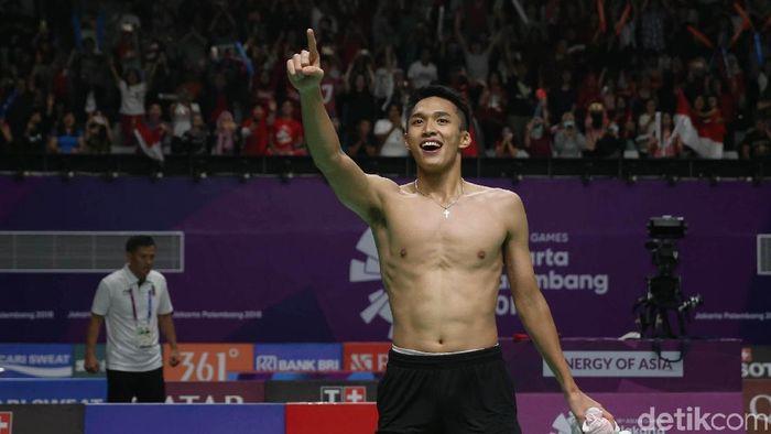 Momen perayaan Jonatan Christie di Asian Games 2018 (Foto: Agung Pambudhy)