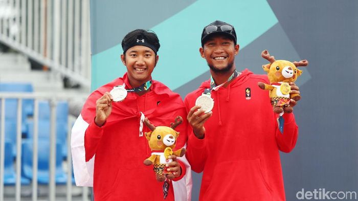 Pasangan Mohammad Ashfiya/Ade Candra Rachmawan, salah satu penyumbang perak buat Indonesia di Asian Games 2018, dari cabang Voli Pantai (Foto: Rachman Haryanto/detikSport)