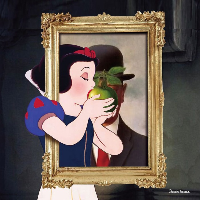 Duh, sosok Snow White yang sedang melahap apel hijau itu dibuat seolah masuk ke dalam bingkai sebuah lukisan. Sehingga tokoh yang ada pada lukisan itu tertutupi oleh Snow White. Foto: Instagram shusaku1977