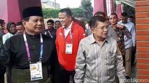Setelah Megawati, Prabowo Sambut JK di Arena Silat Asian Games