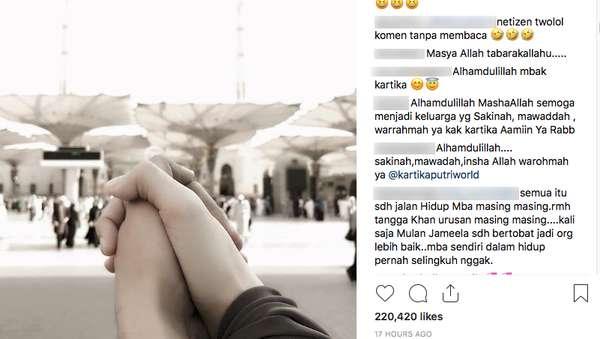 Komen di Instagram Kartika Putri, Mulan Jameela Dibully