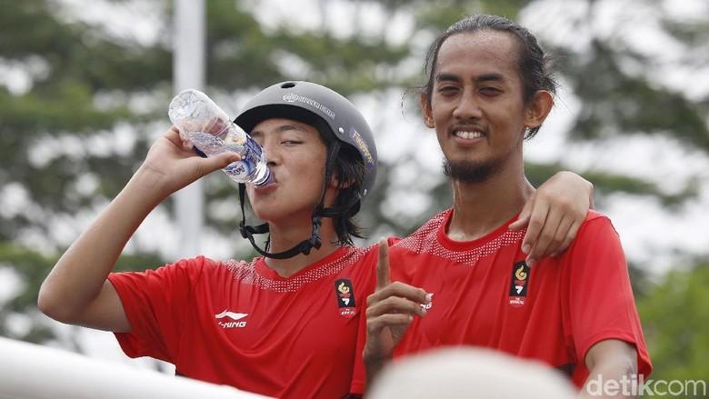 Asian Games 2018, Skateboard, Jason Dennis Lijnzaat dan Pevi Permana Putra. Foto: Rachman Haryanto/detikSport