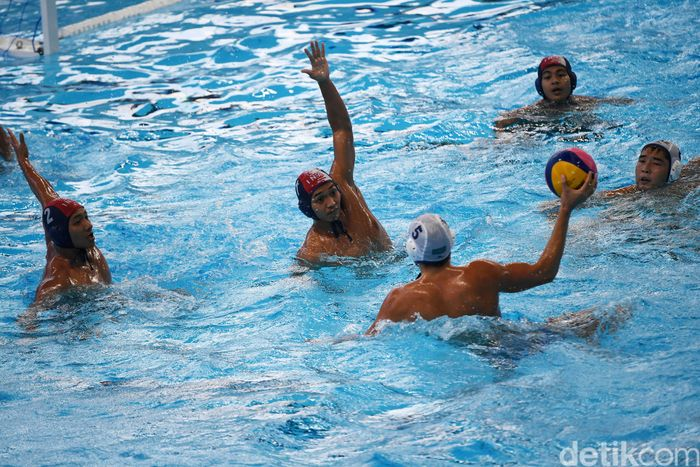 Pertandingan perempatfinal polo air putra Asian Games 2018 digelar di Aquatic Center GBK, Senayan, Jakarta, Kamis (30//8/2018).