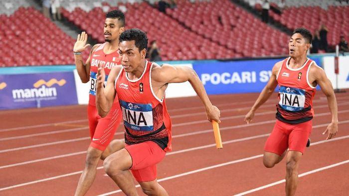 Zohri dkk. akan bertanding di final estafet 4 x 100m Asian Games 2018. ( Foto: Andika Wahyu/ANTARA FOTO/INASGOC)