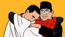 Momen Langka Jokowi-Prabowo Pelukan Dipotret Komikus Hari Prast