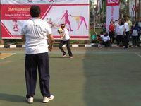 Sri Mulyani Tanding Voli Lawan Kemenko Perekonomian