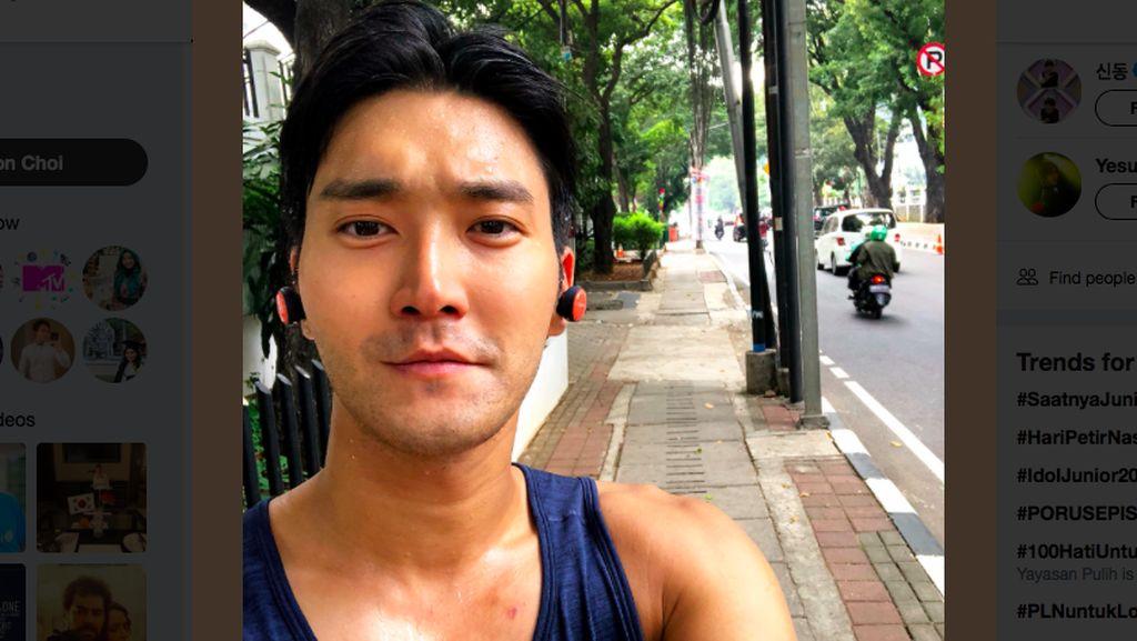 Siang-Siang Joging di Jakarta, Siwon Suju Basah Kuyup Mandi Keringat